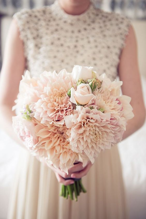 Dahlia and roses wedding bouquet